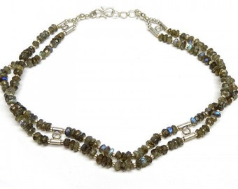 Allnonly Labradorite Beads Two Lines Necklace