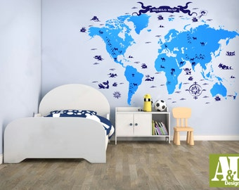 World map wall decal wall vinyl decal sticker housewares home nursery world map wall decal wall vinyl decal sticker housewares home art modern stylish design mural gumiabroncs Choice Image