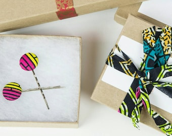 Hair Pins, Bobby pins, Bobby pin pair, Fabric covered buttons, Hair clips, Bobby hair pin, African fabric bobby pin pair, Fabric bobby pin