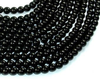 Black Stone, 6mm (6.3mm) Round Beads, 15.5 Inch, Full strand, Approx 66 beads, Hole 1mm (146054009)