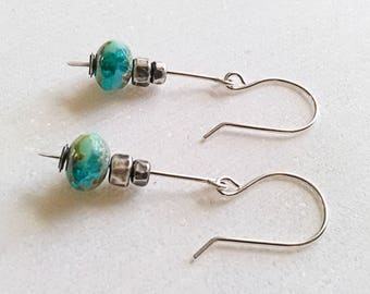Blue Green Czech Glass Dangle Earrings. Oxidized Sterling Earrings. Picasso Glass Bead Valentines Christmas Anniversary Gift for Her Jewelry