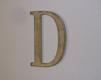Initial Distressed Wood Letter D 12-inch  Initial Choice of Letter and Color!
