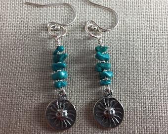 Turquoise Sun Earrings in Sterling Silver