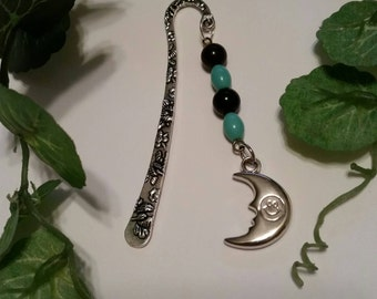 moon, Bookmark, Books, Reading,Handmade,Beads,Turquoise,Blue,moon,Charms