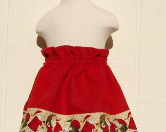 Red Linen with Santa Border Skirt Size 2T