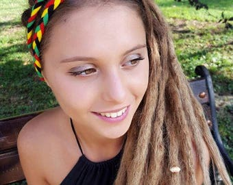 Rasta Headband Reggae Headband Hippie Coachella Headband Rasta Braided Headband Rastafarian Headband Jamaica One Love Hairband Burning man