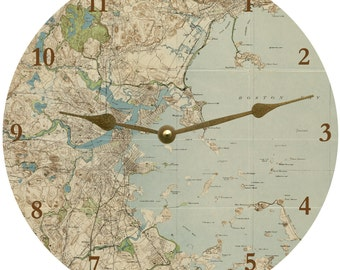 Map Clock- Boston Area Map Clock