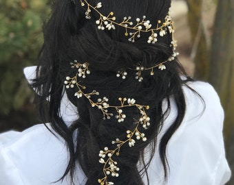 Long Gold Hair Vine, Gold Hair Vine, Crystal Hair Vine, Wedding Hair Accessory, Bridal Hair Vine, Rhinestone Hair Vine
