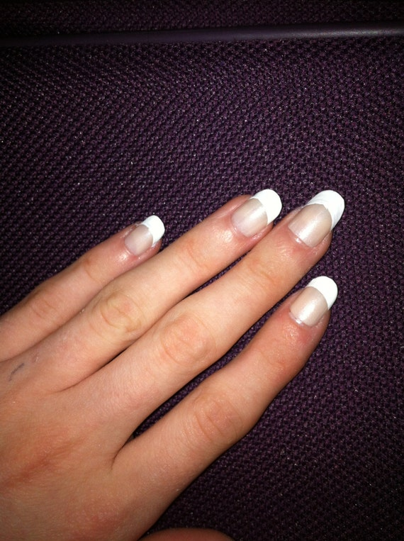 Items Similar To French Manicure Round Nails On Etsy