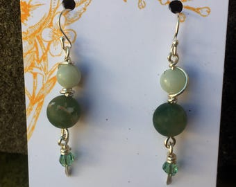 Sterling Wrapped Jade Dangle