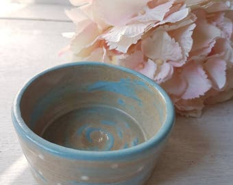 HOME GIFT. Handmade, ceramic, bowl, dish, jewellery dish, small, swirl and spots pastel, blue, glaze, mothers day gift.