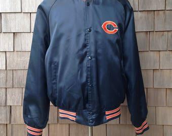 80s vintage Chicago Bears jacket by Chalk Line - Medium - satin nylon snap up coat