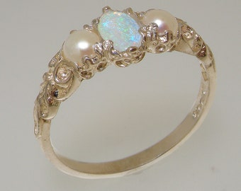 Solid 925 Sterling Silver Natural Opal & Pearl womens Trilogy Ring - Customizable Platinum,9K,10K,14K,18K Yellow, Rose or White Gold