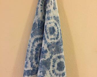 Hand dyed Indigo Shibori Silk Scarf #7