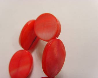 22 vintage pink mother of pearl mop oval flat cabochon beads 18 x 13 mm e1251