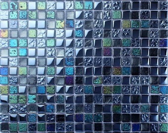"Blue Mosaic Tile Plated Stone and Glass Backsplash Iridescent Kitchen Designs Colors Bathroom Wall Tiles (6 PCS, 11.8""x11.8"" /each)"