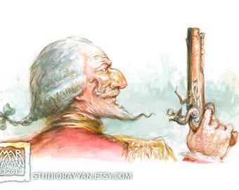 Baron in a Duel - extraordinary adventures of Baron Munchausen watercolor illustration