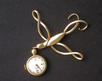 Reduced Price!  Bird-in-Flight Vintage Brooch Girard Perregaux Timepiece Ruby Eye 14K and 18K Gold Time Flies