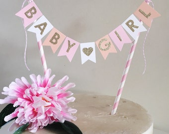 Bunting Cake Topper - Baby Shower Baby Girl Pink Peach White and Gold Glitter