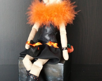 Halloween Witch, Tilda doll, orange pumpkin, rag interior doll, leather dress and hat, party decoration, handmade unique girl