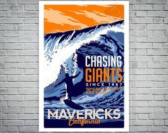 Surfing Travel poster Mavericks california vintage retro Screen Print poster