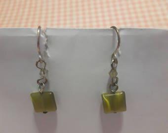 Square Green Glass earrings