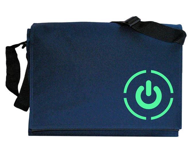 Power Symbol Glow in the Dark Navy Blue Messenger Shoulder Bag