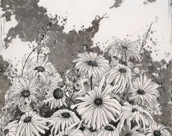Night time in Iza's garden II  - original ink drawing and silver leaf