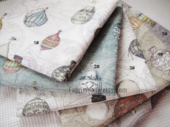 Vintage style japanese cotton linen fabric cloth vintage fire vintage style japanese cotton linen fabric cloth vintage fire balloon circus balloon world map on beige green purple brown grey 12 yard from fabricmade gumiabroncs Gallery