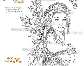 Luciana Pepito Fairy Tangles Printable Adult Coloring Book