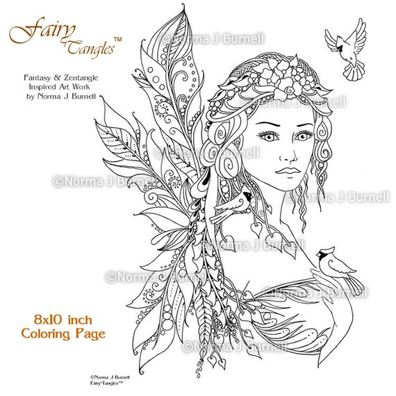 Cardinals Fairy Tangles Printable Coloring Book Pages Sheets