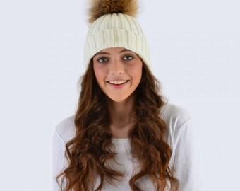 rib knit hat,Ivory  hat with Fur Pom Pom, beanie with Fur Pom Pom,FREE SHIPPING Christmas gift ideas,beanie, cap