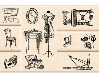 Sewing Rubber Mounted Stamps / Vintage / Crafter Maker Gift / Sewing Machine / PIncushion / Dress form / Chair / Pattern
