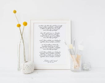 Wedding Song Print, Song Lyrics, Bride and Groom, Holiday Gift, Wedding Gift, Anniversary Gift, Friend Gift, Song Lyrics Print, Song Print,