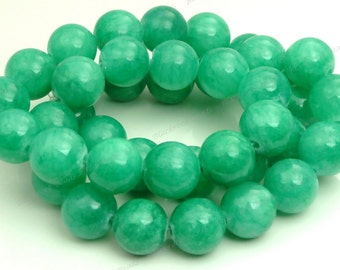 10mm Sea Green Mashan Jade Round Gemstone Beads - 16 Inch Strand - BG22