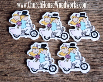 Wood Bride Groom on Motorcycle pack of 5 - Use for crafts, scrap booking, embellishments, gifts