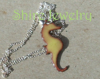Sea Horse  necklace- Enameled Necklace