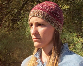 Handspun Handknit Hat, Multicolored Pink/Red/Green/Tan Design. Beanie.