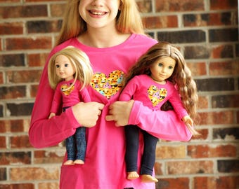 SIZE 14/16 - Matching Girl Doll Clothes fits American Girl Doll OR Wellie Wisher - Heart Emoji Shirts in Pink