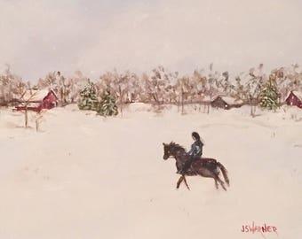 Winter on the Farm - original acrylic hand painted art