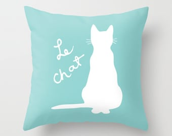 Cat Pillow  - Blue and White Cat Throw Pillow - Cat Novelty Pillow - Cat Decor - Cat Decorative Pillow - Aldari Home
