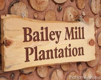 Large Engraved Custom Name Sign Rustic Cabin Personalized Plaque Log Slab