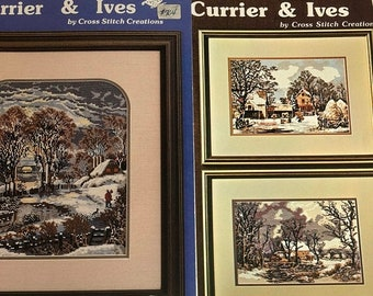 APRILSALE Vintage 1983 Set of Two Currier & Ives, An Heirloom Collection, The Esmark Collection, Counted Cross Stitch Pattern Booklets
