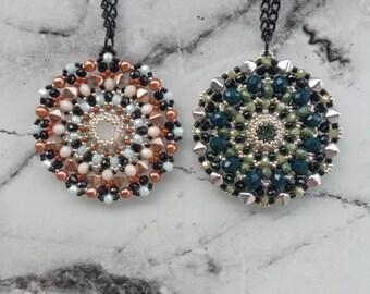 long necklace, handmade mandala inspired pendant, ciondolo mandala, collana boho