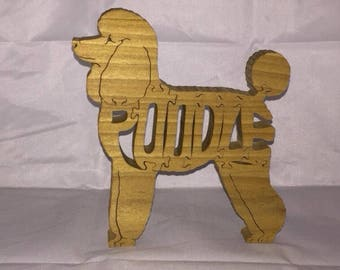 Poodle dog wooden jigsaw puzzle