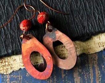 Hammered Copper Earrings, Antiqued Copper Patina Rustic Copper Earrings Bohemian Tribal Handmade Jewelry Dangle Earrings Mom Gifts Wife Gift