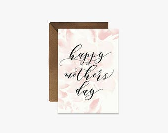 Happy Mothers Day Card + Kraft Envelopes - Colourful watercolour floral mothers day card