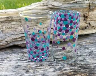 Teal purple polkadot shotglass set, purple teal confetti polka dot shotglass, confetti shotglass, bridal party shotglass,wedding shotglass