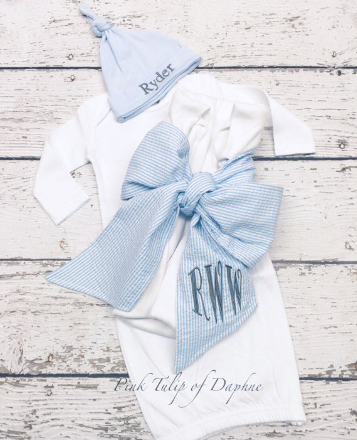 Newborn layette set, Infant boy gown set, Newborn gown and cap set ...