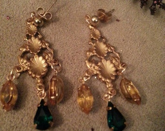 Chandelier Style Earrings, Brass Connector, Elegant, Navette Dangle Jewels, 2 Pairs Available, Buy Both and Save